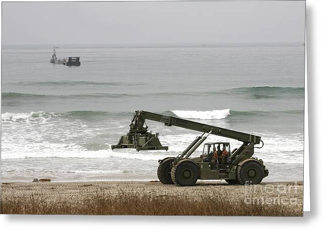 Seabee Loader And Powered Causeway Greeting Card by Michael Wood