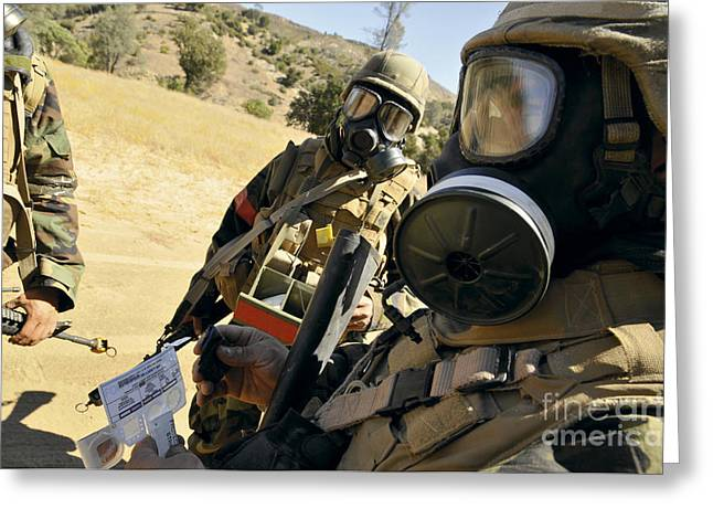 Construction Helmet Greeting Cards - Seabees Conduct Decontamination Wash Greeting Card by Stocktrek Images