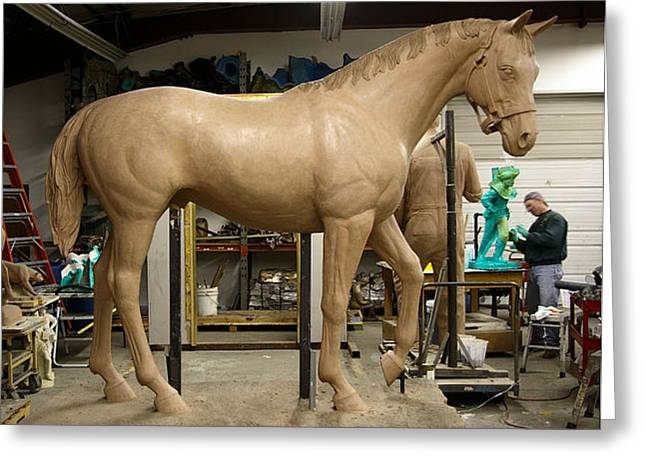 Custom Sculptures Greeting Cards - Seabiscuit bronze larger than life size horse sculpture Greeting Card by Kim Corpany
