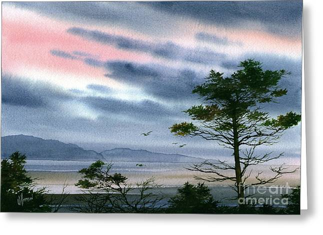 Winter Prints Paintings Greeting Cards - Seacoast Winter Sunset Greeting Card by James Williamson
