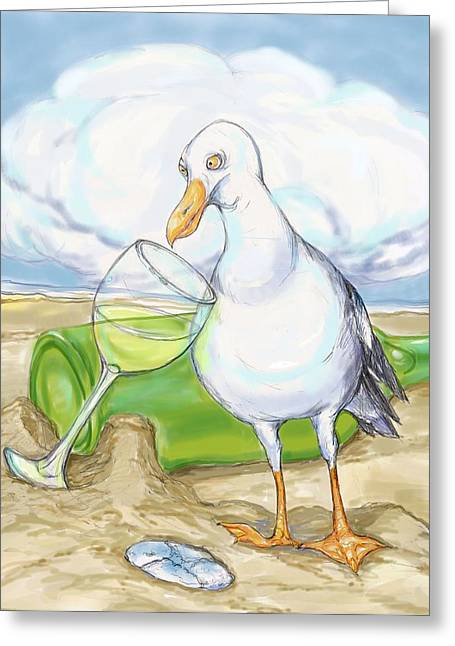 Bird Bottle Greeting Cards - Seagull  Chardonnay Greeting Card by Peggy Wilson