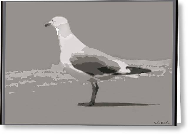 Flying Seagull Mixed Media Greeting Cards - Seagull Greeting Card by Debra     Vatalaro