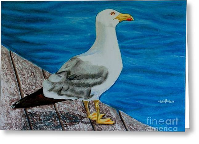 Barcelona Pastels Greeting Cards - Seagull on the shore - Gaviota en la costa Greeting Card by Melvin Rodriguez