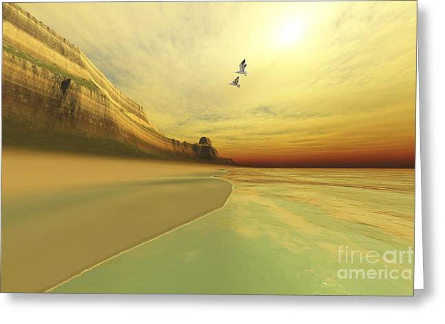 Creativity Desert Greeting Cards - Seagulls Fly Near The Mountains Of This Greeting Card by Corey Ford