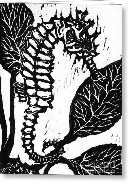 Linoleum Print Mixed Media Greeting Cards - Seahorse block print Greeting Card by Ellen Miffitt