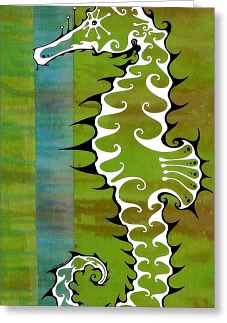 Seahorse Paintings Greeting Cards - SeaHorse Greeting Card by John Benko
