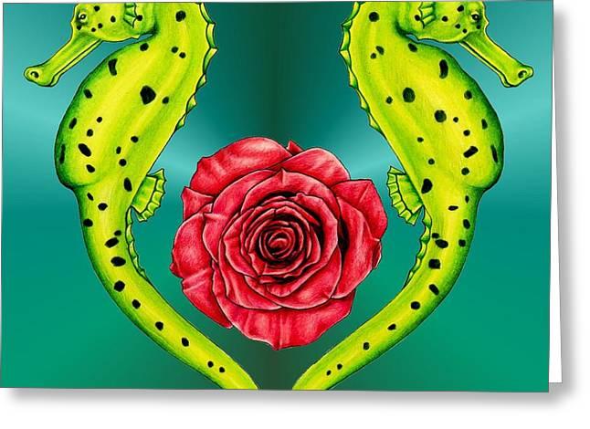 Seahorse Greeting Card by Sheryl Unwin