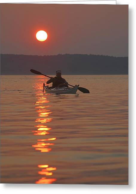 Sunset Scenes. Greeting Cards - Seakayaking On The Potomac River Greeting Card by Skip Brown