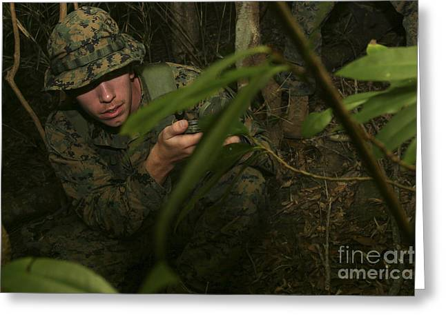 Jungle Warfare Greeting Cards - Seaman Checks His Azimuth While Greeting Card by Stocktrek Images