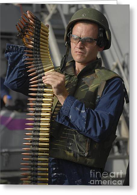 Operation Enduring Freedom Greeting Cards - Seaman Prepares To Load Ammunition Greeting Card by Stocktrek Images