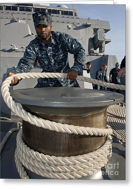 Morehead Greeting Cards - Seaman Runs A Mooring Line Greeting Card by Stocktrek Images