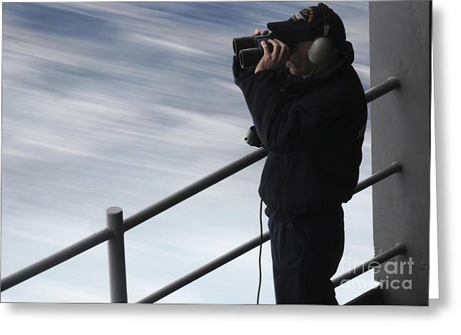 On The Lookout Greeting Cards - Seaman Stands Fantail Lookout Watch Greeting Card by Stocktrek Images
