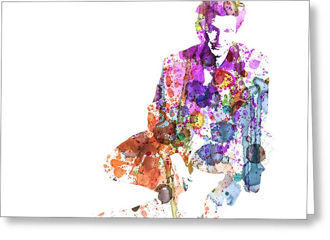 Film Watercolor Greeting Cards - Sean Penn Greeting Card by Naxart Studio