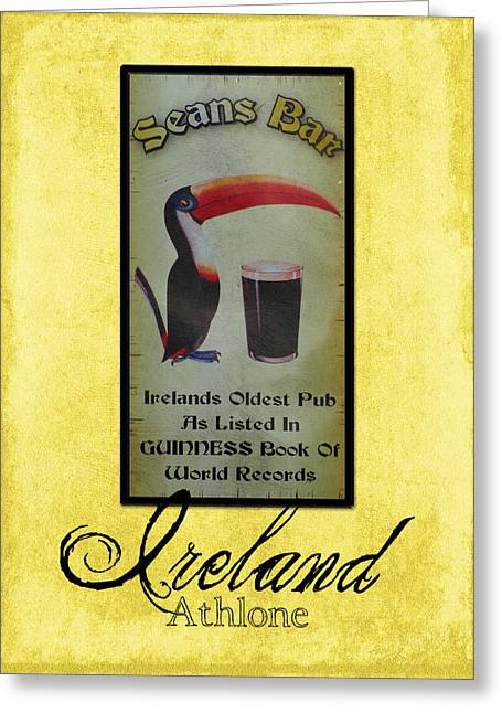 Irish Greeting Cards - Seans Bar Guinness Pub Sign Athlone Ireland Greeting Card by Teresa Mucha