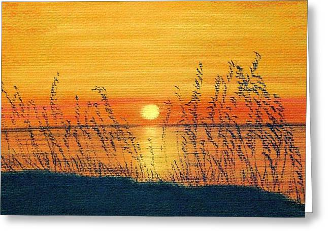 Silhouettes Pastels Greeting Cards - Seaoats Sunset Greeting Card by Jan Amiss