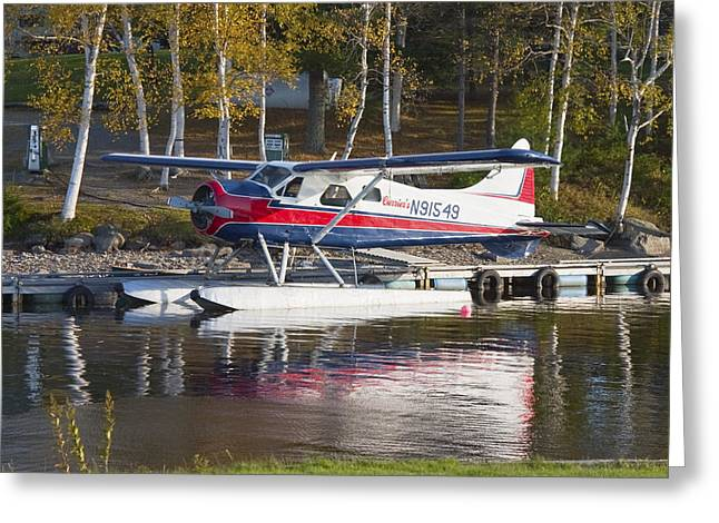 Seaplane Greeting Cards - Seaplane On Moosehead Lake In Maine Canvas Photo Poster Print Greeting Card by Keith Webber Jr