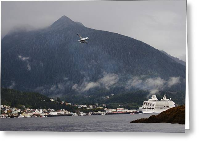 Tongass Greeting Cards - Seaplane Over Ketchikan Harbor With One Greeting Card by Melissa Farlow