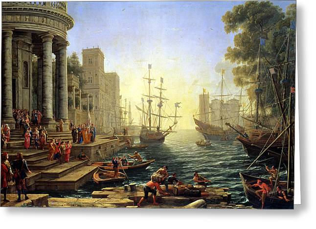 Baroque Greeting Cards - Seaport with the Embarkation of Saint Ursula  Greeting Card by Claude Lorrain
