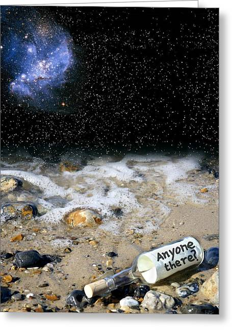 Glass Bottle Greeting Cards - Search For Extraterrestrial Intelligence Greeting Card by Victor De Schwanberg