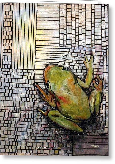 Tree Frog Reliefs Greeting Cards - Searching For The Other Side Greeting Card by Helga Gravitt