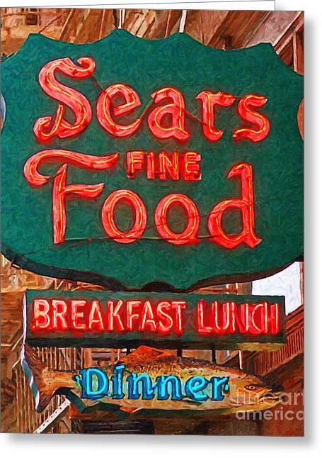Hamburger Greeting Cards - Sears Fine Food Restaurant San Francisco Greeting Card by Wingsdomain Art and Photography