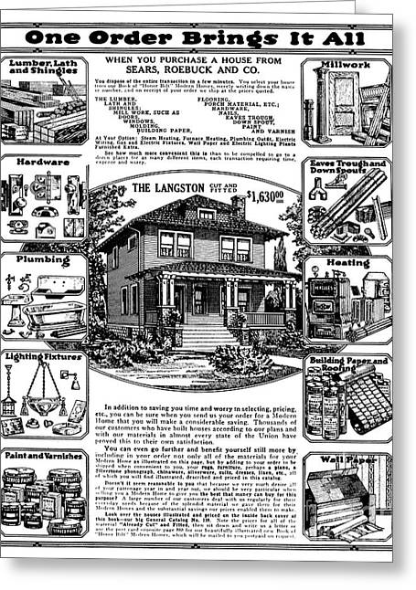 Hardware Greeting Cards - Sears House Ad, 1919 Greeting Card by Granger