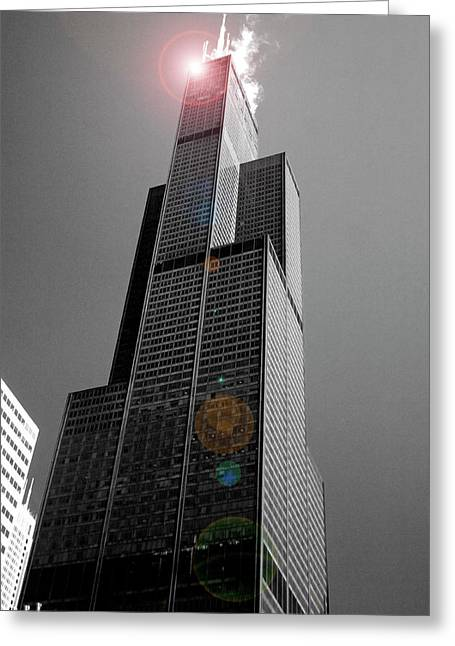 Sears Greeting Cards - Sears Tower 2 Greeting Card by BuffaloWorks Photography