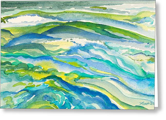 Windswept Paintings Greeting Cards - Seas in Motion Watercolor Painting Greeting Card by Michelle Wiarda