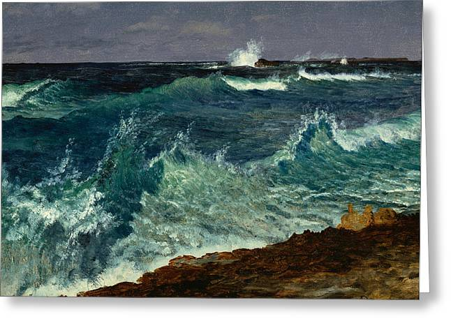 Stormy Weather Greeting Cards - Seascape Greeting Card by Albert Bierstadt