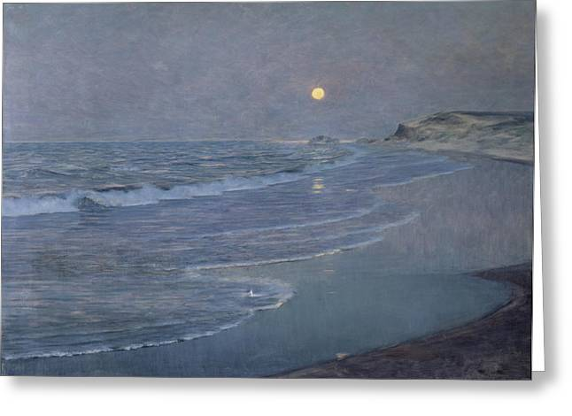 Moonlight Scene Greeting Cards - Seascape Greeting Card by Alexander Harrison