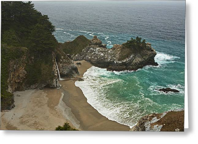 Big Sur Ca Greeting Cards - Seascape and Waterfall at Julia Pfeiffer Burns State Park Greeting Card by Gregory Scott