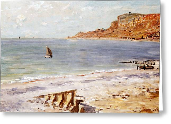 Sailing Boat Greeting Cards - Seascape at Sainte Adresse  Greeting Card by Claude Monet