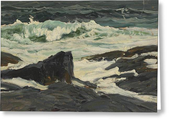 Breaking Surf Greeting Cards - Seascape Greeting Card by Frederick Judd Waugh