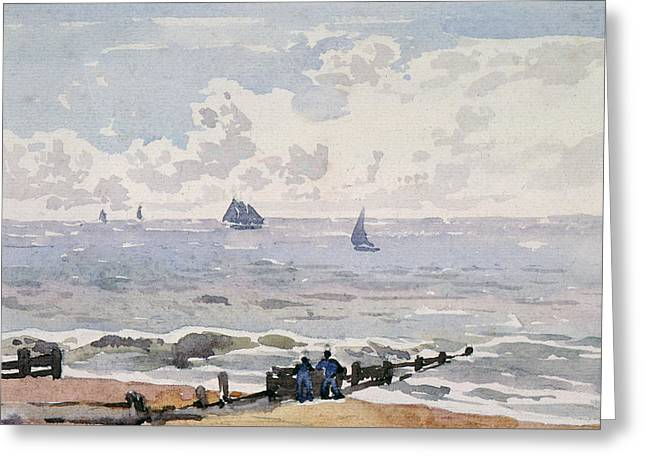 Sailing Boat Greeting Cards - Seascape from the Beach Greeting Card by Thomas Churchyard