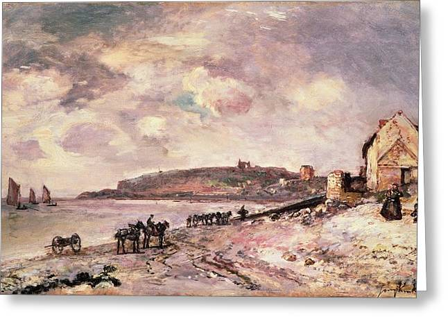 Johan Greeting Cards - Seascape with ponies on the beach Greeting Card by Johan Barthold Jongkind