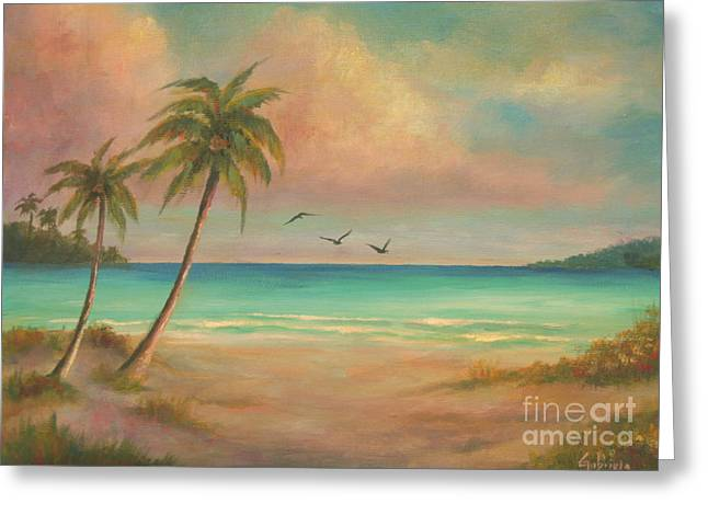 Seacape Paintings Greeting Cards - Seascapes Paradise Greeting Card by Gabriela Valencia