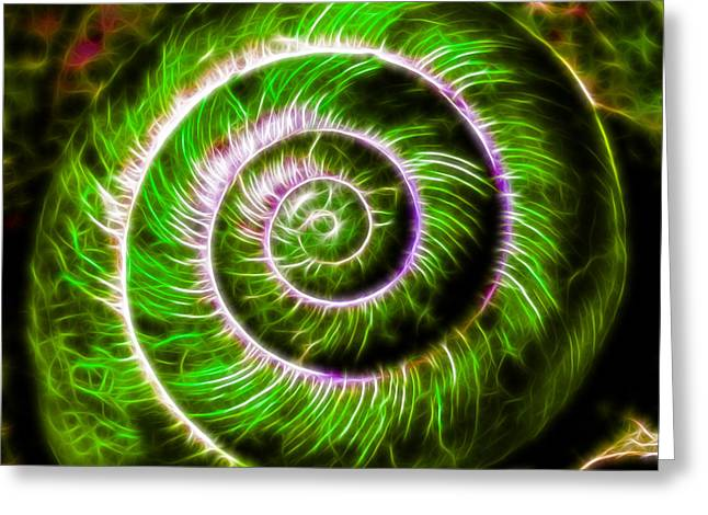 Sea Shell Art Greeting Cards - Seashell - Electric - Green Greeting Card by Wingsdomain Art and Photography