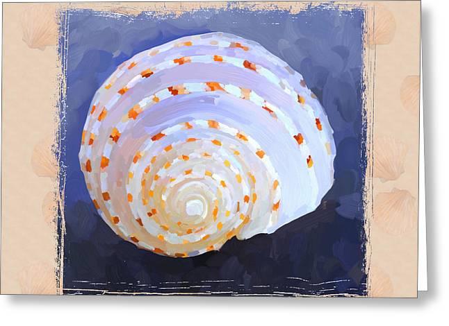 Sea Shell Art Greeting Cards - SeaShell IV Grunge with Border Greeting Card by Jai Johnson
