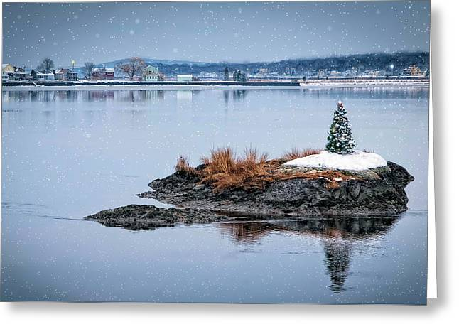 Ocean. Reflection Greeting Cards - Seaside Christmas Greeting Card by Robin-lee Vieira