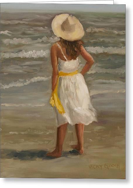 Galveston Paintings Greeting Cards - Seaside Dreams Greeting Card by Vicky Gooch