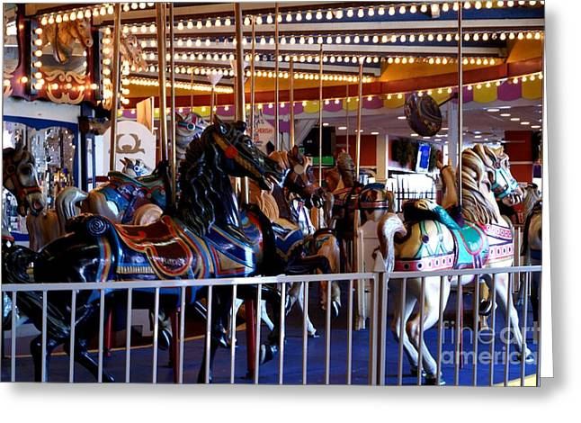 Looff Greeting Cards - Seaside Heights Carousel Greeting Card by Kathy Flugrath Hicks