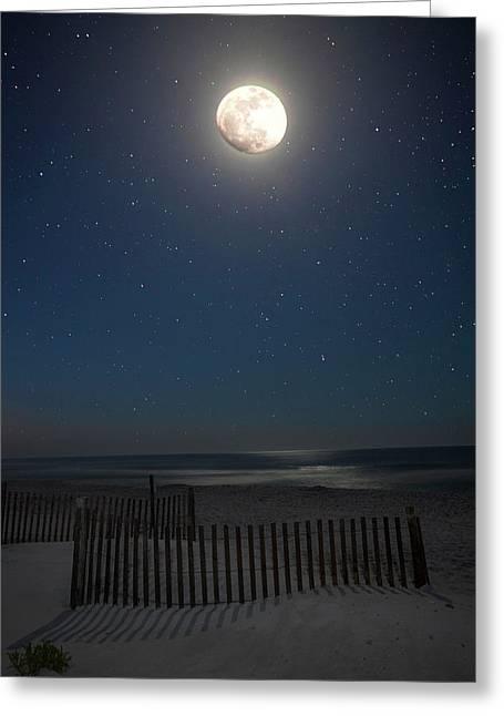 Charles Warren Greeting Cards - Seaside moonset Greeting Card by Charles Warren