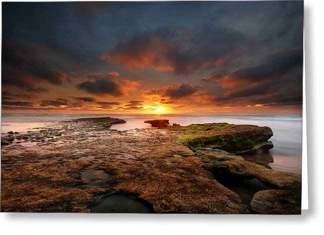 Seaside Reef Sunset 12 Greeting Card by Larry Marshall