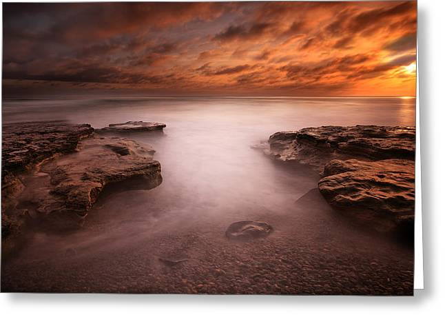 Seaside Reef Sunset 3 Greeting Card by Larry Marshall