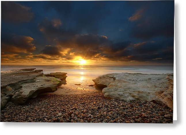 Sand Art Greeting Cards - Seaside Reef Sunset 9 Greeting Card by Larry Marshall