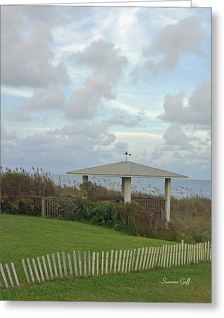 Gazebo Greeting Card Greeting Cards - Seaside Sanctuary Greeting Card by Suzanne Gaff