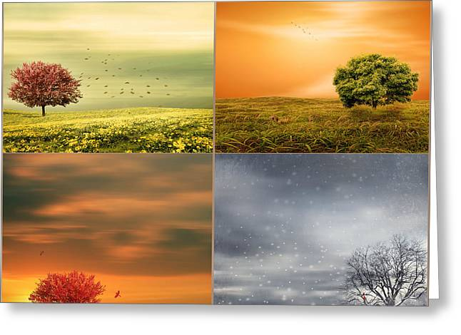 Nature Collage Greeting Cards - Seasons Delight Greeting Card by Lourry Legarde