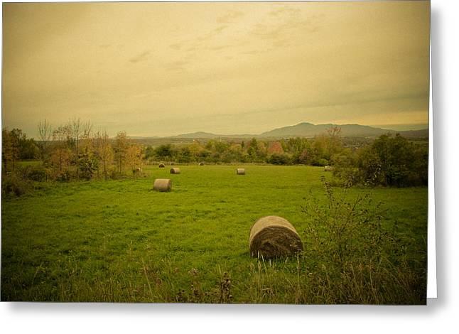 Season's End. Golden Hay Rolls In A Farmer's Field Greeting Card by Chantal PhotoPix