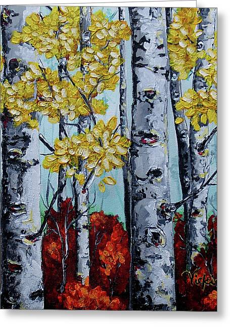 Fall Trees Mixed Media Greeting Cards - Seasons End Greeting Card by Vickie Warner