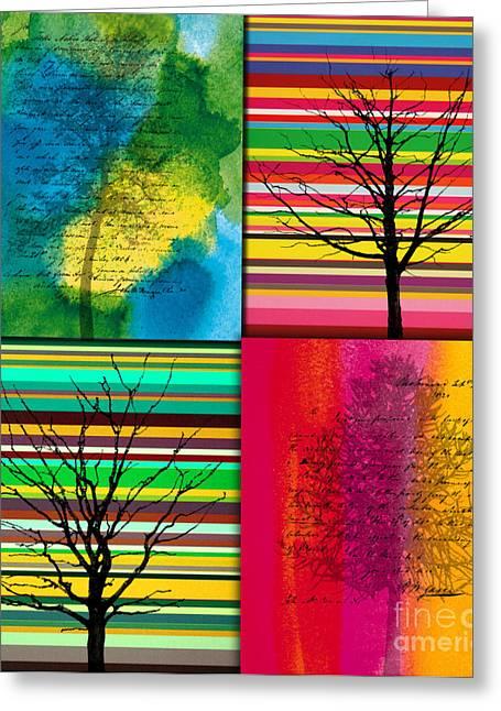 Park Scene Paintings Greeting Cards - Seasons Greeting Card by Ramneek Narang